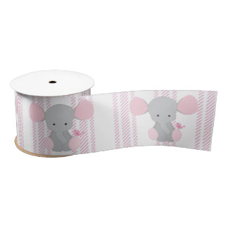 Säuglings-Baby-Mädchen-rosa Elefant w/Stripes Satinband