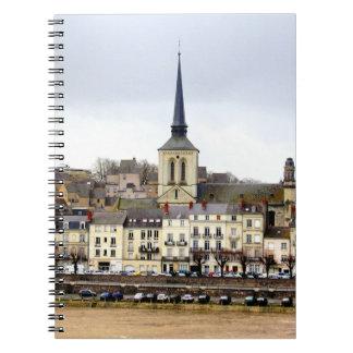 Saumur Fluss-Bank-Szenen-Foto-Notizbuch Notizblock
