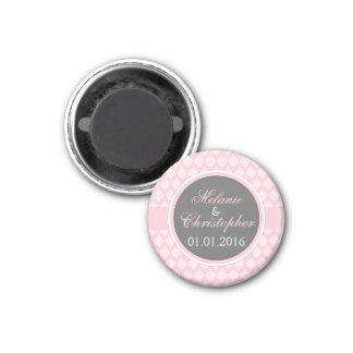 Sauvez la damassé de gris de rose d'aimant de date magnet carré 2,50 cm