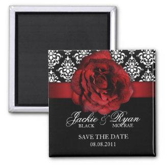 Sauvez la damassé de rose rouge d'aimant de date magnet carré