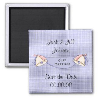 Sauvez l'aimant bleu marié de date juste magnet carré