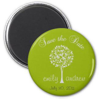 Sauvez l'aimant d'arbre de vert de date