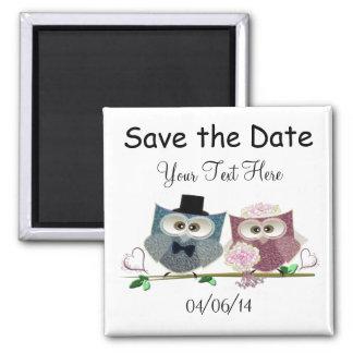 Sauvez l'aimant d'art de hiboux de mariage de date magnet carré