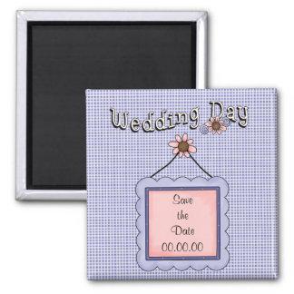 Sauvez l'aimant de bleu de jour du mariage de date magnet carré