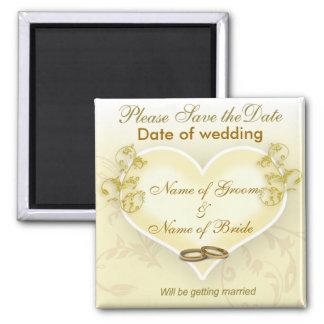 Sauvez l'aimant de date - coeur et anneaux de mari