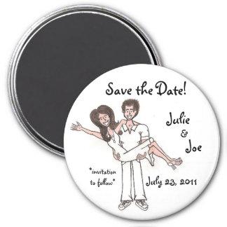 Sauvez l'aimant de date magnet rond 7,50 cm