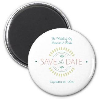 Sauvez l'aimant de date magnet rond 8 cm