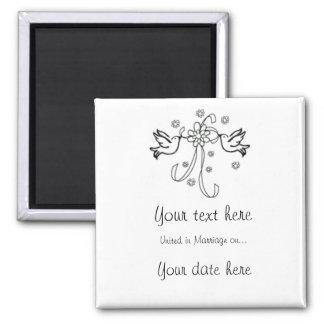 Sauvez l'aimant de mariage de date magnet carré