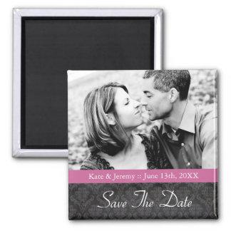 Sauvez l'aimant de mariage de photo de date magnet carré