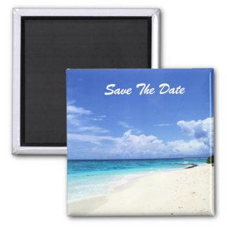 Sauvez l'aimant de plage de date magnet carré