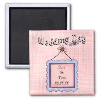Sauvez l'aimant de rose de jour du mariage de date magnet carré