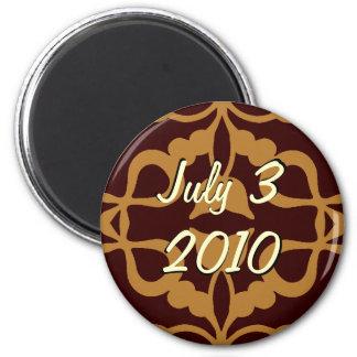 Sauvez l'aimant de rouleau de date magnet rond 8 cm