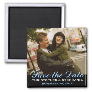 Sauvez l'aimant moderne de photo de style de date magnet carré