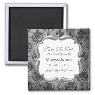 Sauvez le gris floral vintage de motif de mariage magnet carré