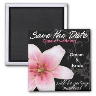 Sauvez le lis de rose de date sur le noir aimants pour réfrigérateur