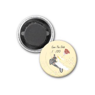 Sauvez le magnet de mariage de cycliste de date magnet carré 2,50 cm