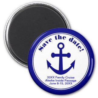 Sauvez le mariage de plage nautique de croisière magnet rond 8 cm