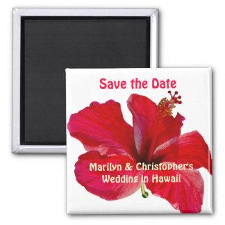 Sauvez le mariage hawaïen de date magnet carré