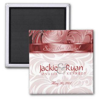 Sauvez le rouge d'argent de feuille florale magnet carré