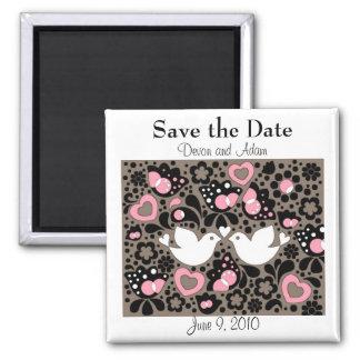 Sauvez les inséparables de date épousant l'aimant magnet carré