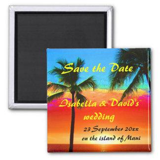 Sauvez les palmiers de mariage de date magnet carré