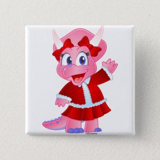 Savanne Dino in der Weihnachtsausstattung Quadratischer Button 5,1 Cm
