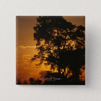Savanne-Sonnenuntergang-Knopf Quadratischer Button 5,1 Cm