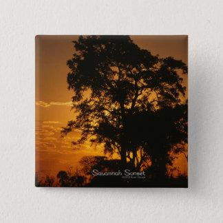 Savanne-Sonnenuntergang Quadratischer Button 5,1 Cm