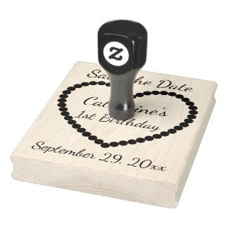 Save the Date 1. Geburtstags-Herz personalisiert Gummistempel