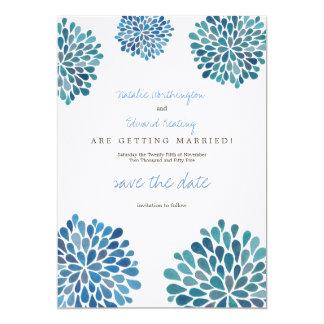 Save the Date blaue Watercolor-Leinendahlien 12,7 X 17,8 Cm Einladungskarte