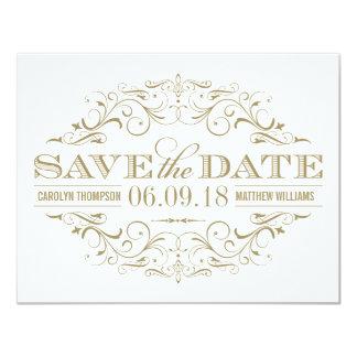 Save the Date   blüht antikes Gold und Weiß 10,8 X 14 Cm Einladungskarte
