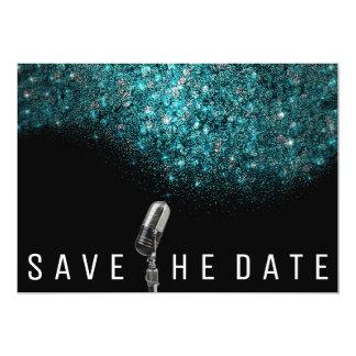 Save the Date Glitzer-blaues Ozean-Silber-Mikrofon Karte