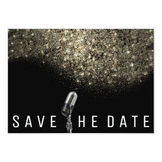 Save the Date Glitzer-Goldsepia-Schwarz-Mikrofon Karte