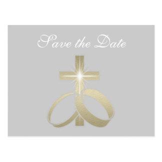 Save the Date Goldhochzeits-Ringe und Kreuz Postkarte