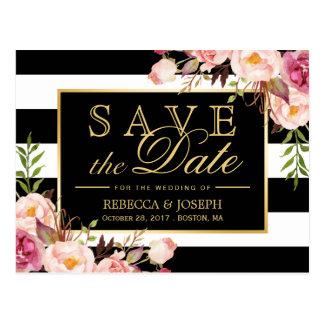 Save the Date - Goldschwarze u. weiße mit Postkarte