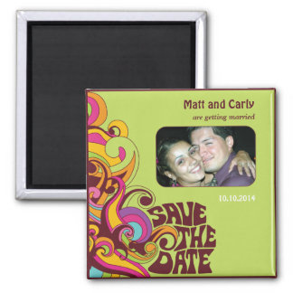 Save the Date Hippy Foto-Magnet Quadratischer Magnet