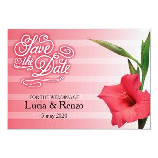 Save the Date in den Schatten des Rotes mit Blume Karte