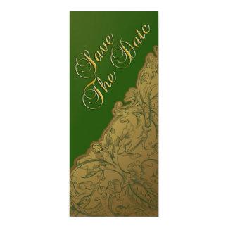 Save the Date - Jäger-Grün u. Gold Vintag 10,2 X 23,5 Cm Einladungskarte