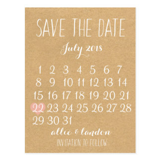 Save the Date Kalender Postkarte