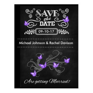 Save the Date Karten-Schmetterlings-Tafel Vintag Postkarte