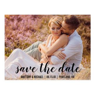 Save the Date kündigen Paar-Foto-Verlobung BT an Postkarte