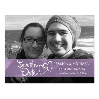 Save the Date lila Fahne Postkarten