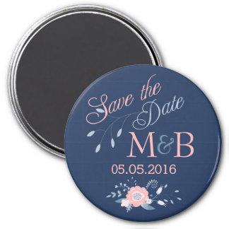 Save the Date Magnet Boho Hochzeits-Monogrammblau
