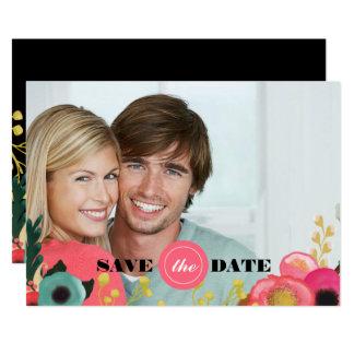Save the Date. Moderne Blumenhochzeits-Foto-Karten Karte