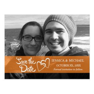 Save the Date orange Fahne Postkarte