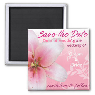 Save the Date rosa Lilie Quadratischer Magnet
