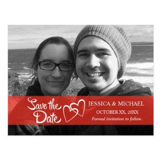 Save the Date rote Fahne Postkarte