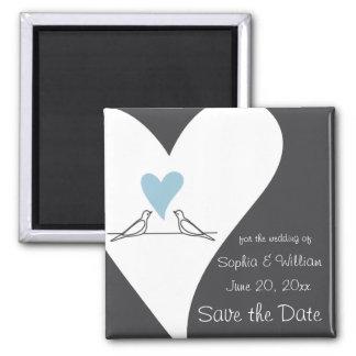 Save the Date rustikale Hochzeits-hellblaues Herz Quadratischer Magnet