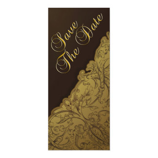 Save the Date - Schokolade u. Gold Vintag 10,2 X 23,5 Cm Einladungskarte