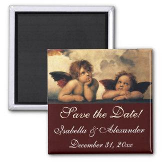 Save the Date! Sistine Madonna Engel durch RAPHAEL Quadratischer Magnet